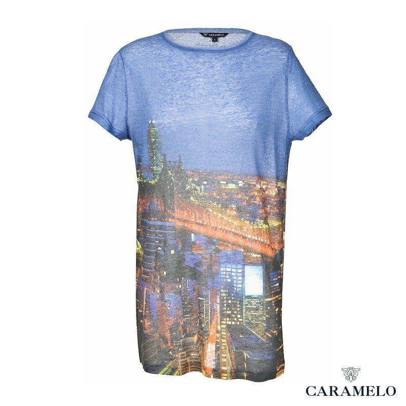 Camiseta de manga corta y escote redondo de la Colección Femenina de Caramelo