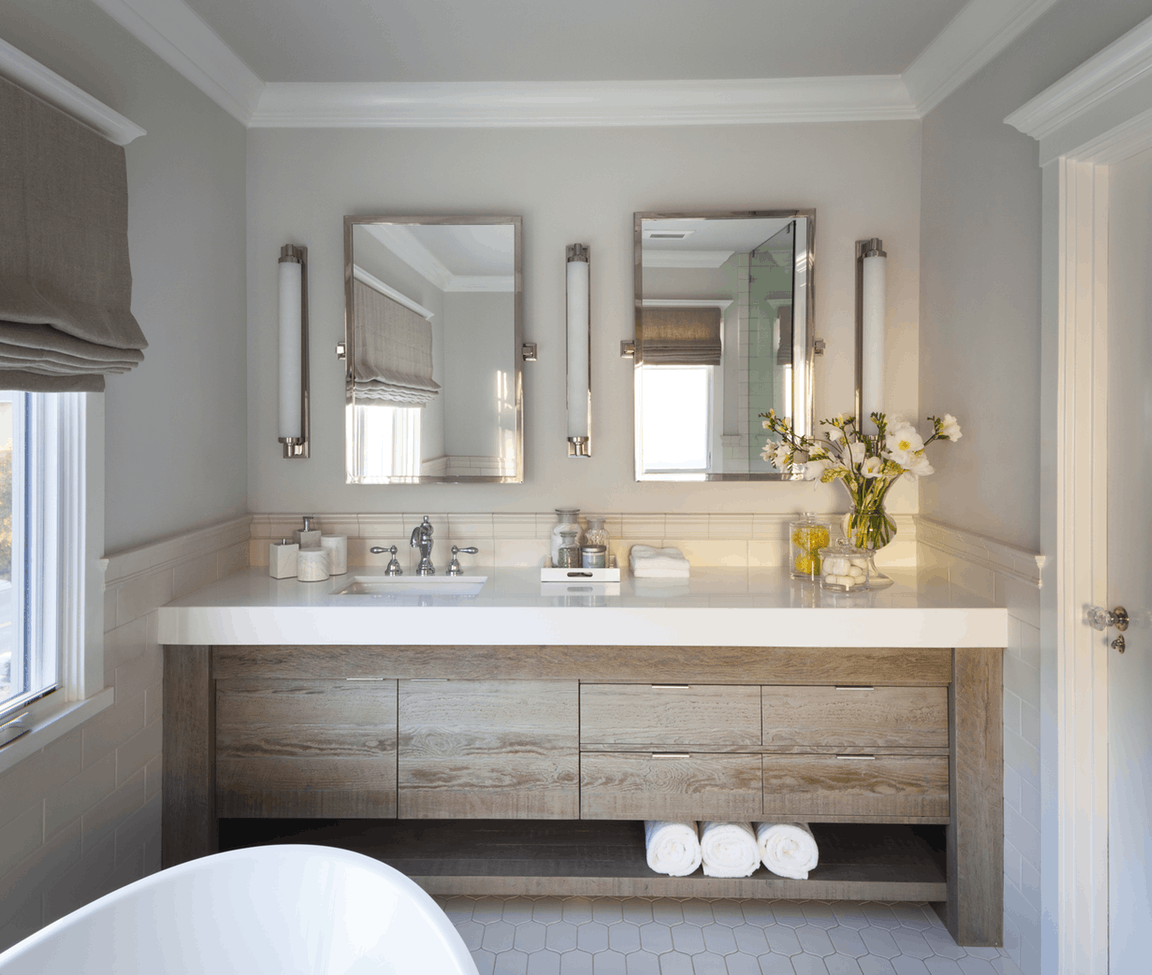 Classic updated master bath with custom reclaimed wood