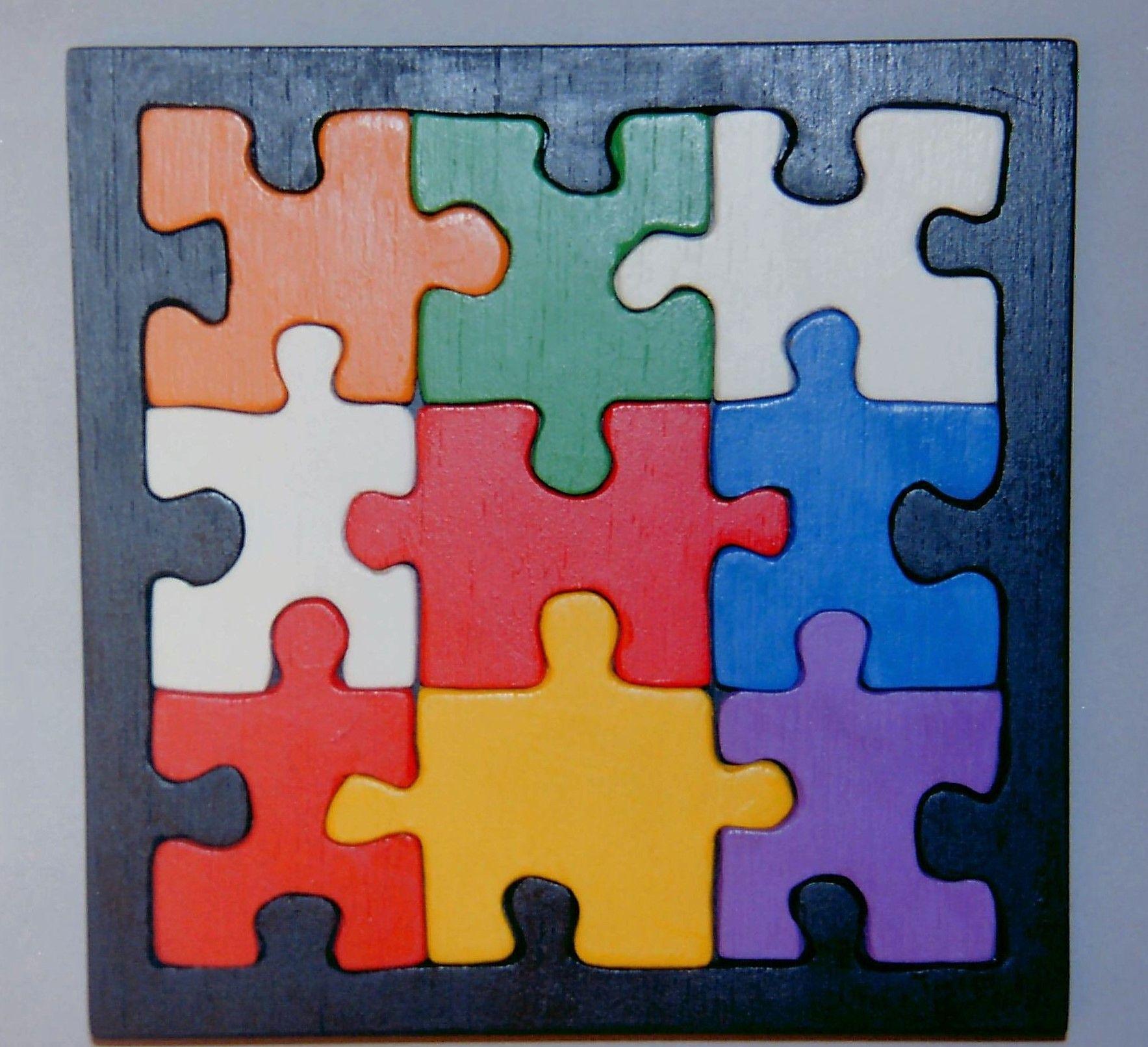 Holz, Spielzeug, Puzzle mit Rahmen und Grundplatte,ca. 15 x 15 cm ...