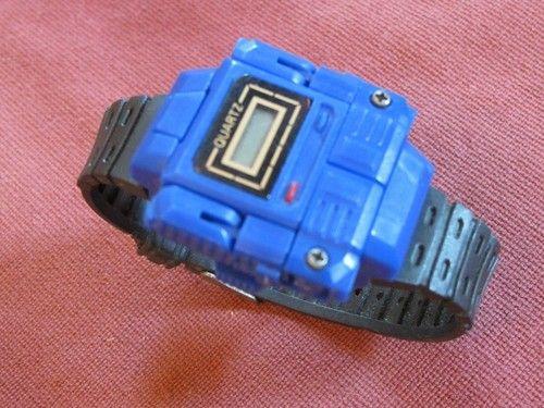 Vintage R.O.C. Transforming Robot Watch 1980's Blue Quartz Plastic Wristwatch