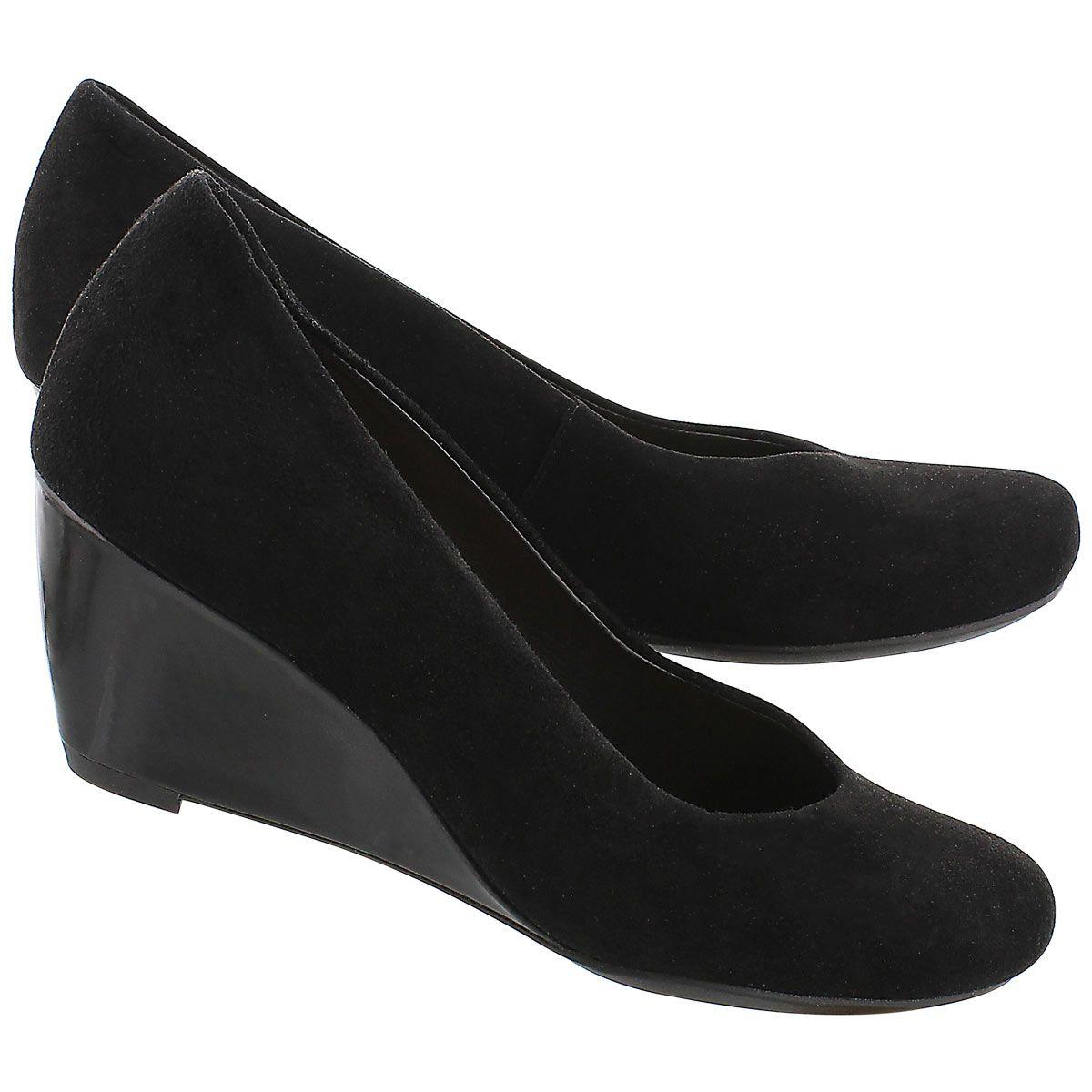 fbcdda37 Clarks Women's BASSETT MINE black suede dress wedges 03355M   The ...