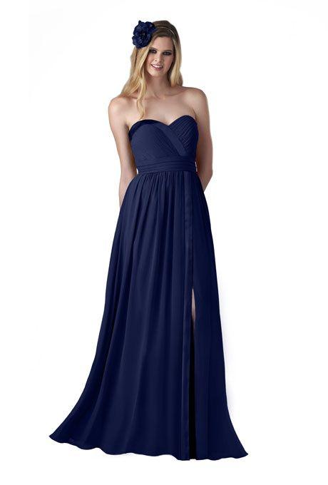 Navy Blue Strapless Bridesmaid Dress - Ocodea.com