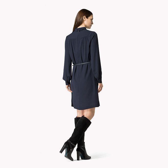 Tommy Hilfiger Krepp Langarm Kleid Night Sky Blau Tommy Hilfiger Kleider Detail Bild 1 Langarm Kleid Kleider Langarm