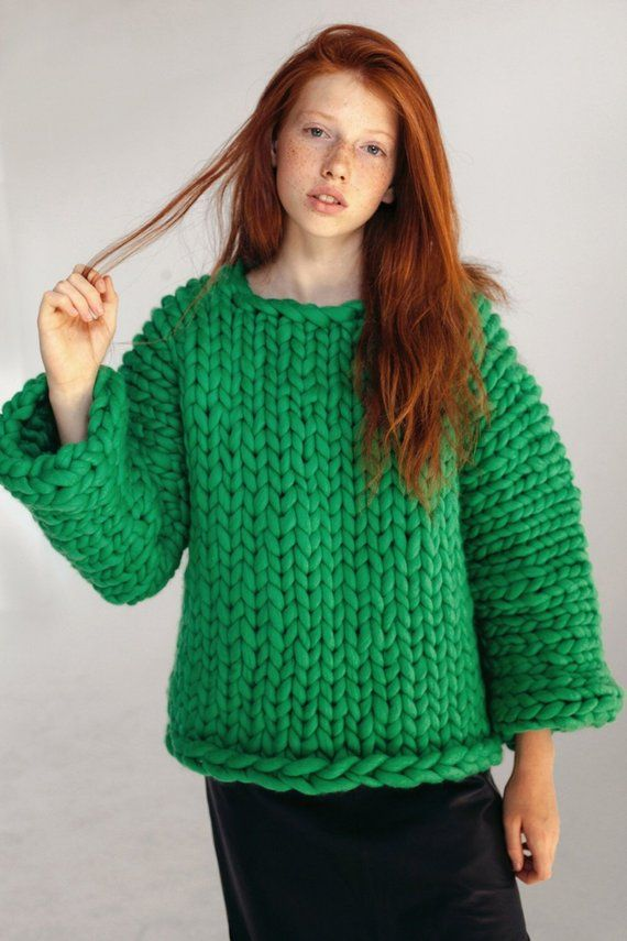 548fad04ffe5d Green chunky sweater Hand knitted women s sweater Merino wool sweater Super chunky  knit sweater Wome