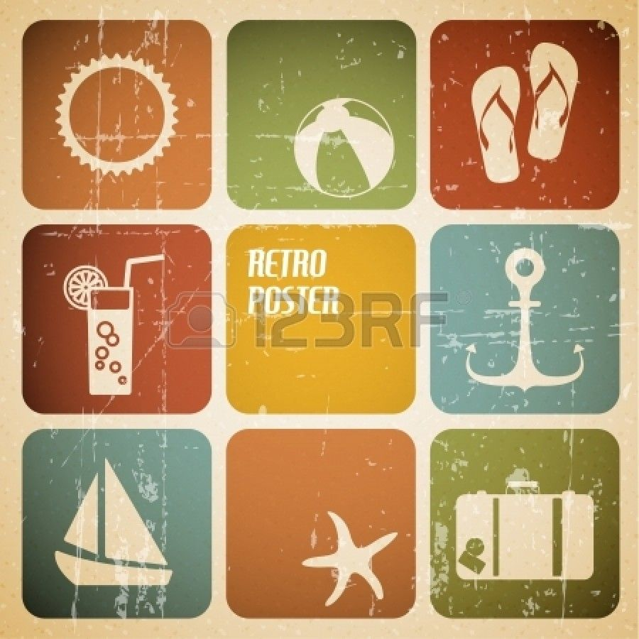 Vector summer poster made from icons - retro color version Stock Photo - 12900193