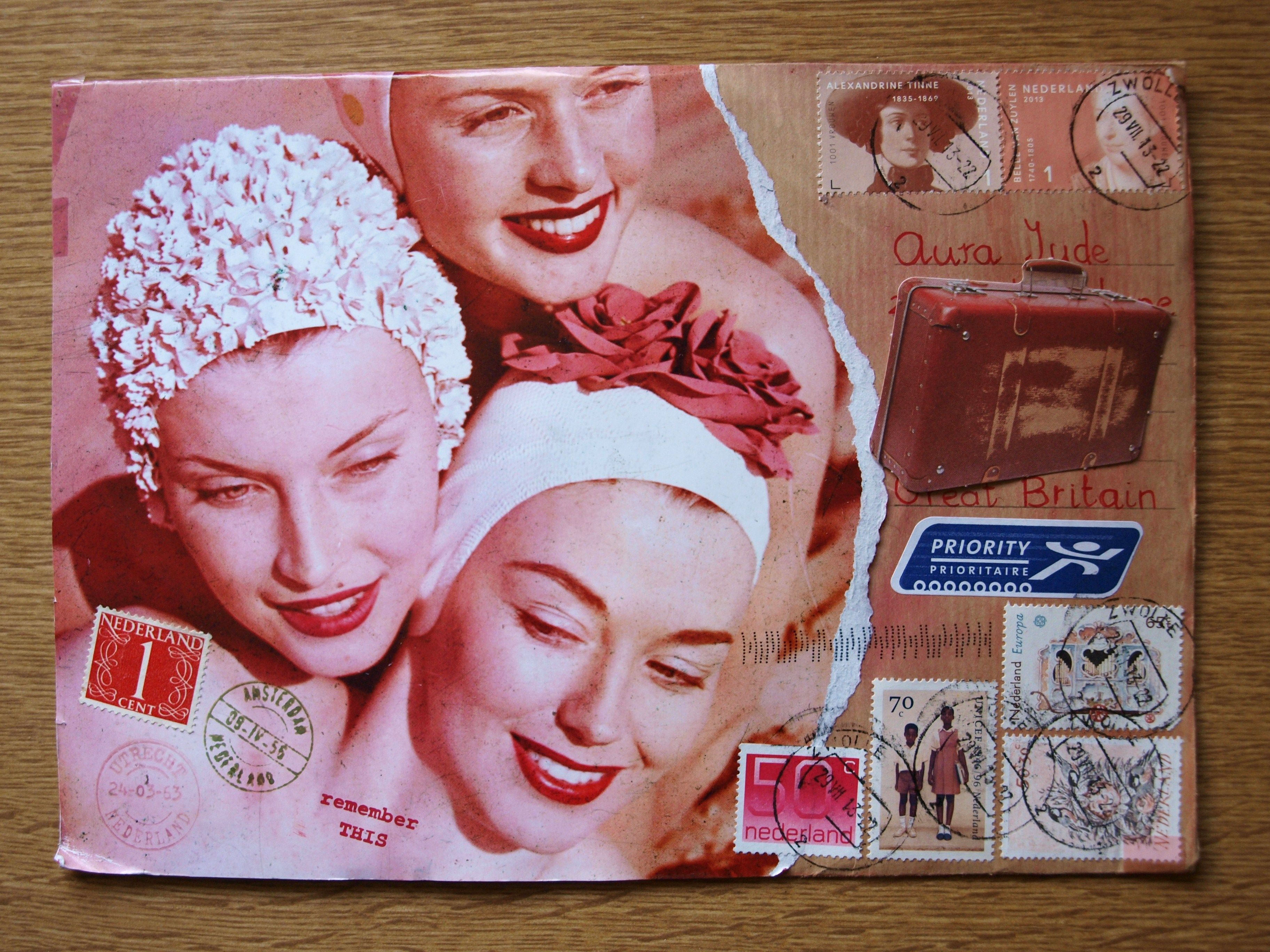Vintage girls wearing bathing caps. Surprise mail full of holiday stuff.