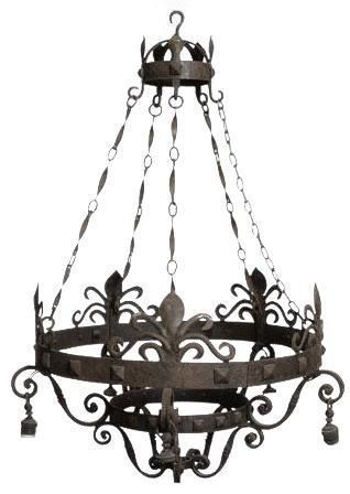 Chandelier Fg Lighting Gothic 30 Inch 5 Light Wrought Iron New
