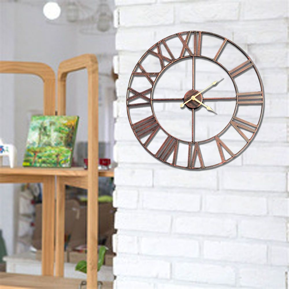fab6a753f9d5 BIG ROMAN LARGE OUTDOOR GARDEN WALL CLOCK NUMERALS GIANT OPEN FACE BRONZE  METAL