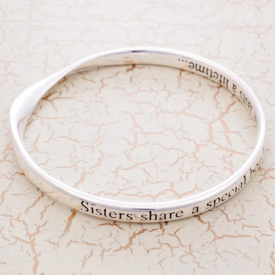 'Sisters share a special bond... That lasts a lifetime' Our stunning Silver Plated Sentimental Message Bangles, beautifully presented in an organza bag with a message card they are the perfect gift for your Sister this Christmas!! Only £14.95, no one can resist <3 Visit our website now to view our full range