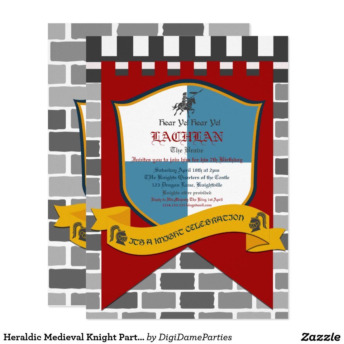 Heraldic Medieval Knight Party Invitation  Zazzle.com  Knight