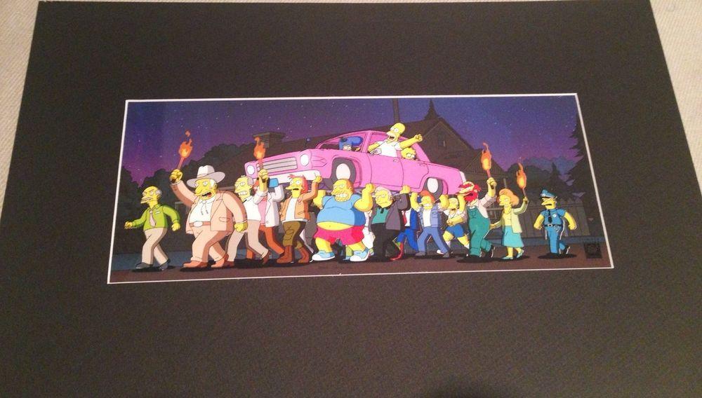 Simpsons Movie Limited Ed Angry Mob Pix Cel Fox Seal Art Coa Animation Matt Groening Auction 380 The Simpsons Movie Art Cel