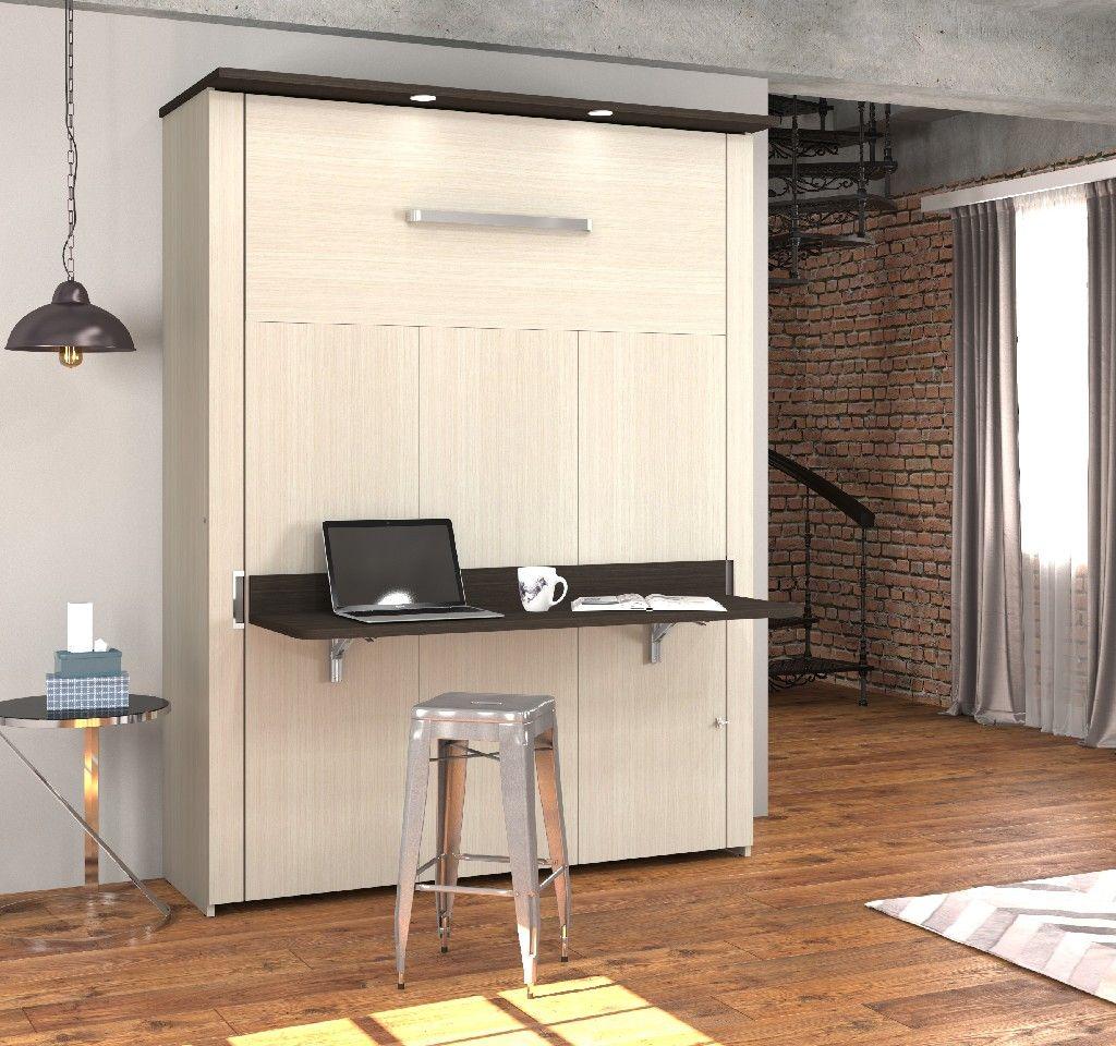 Best Lumina Queen Wall Bed W Desk In White Chocolate Dark 640 x 480