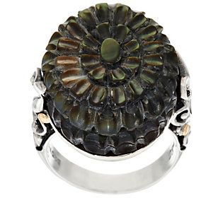 Artisan Crafted Sterling/18K Carved Black Mother-of-Pearl Ring