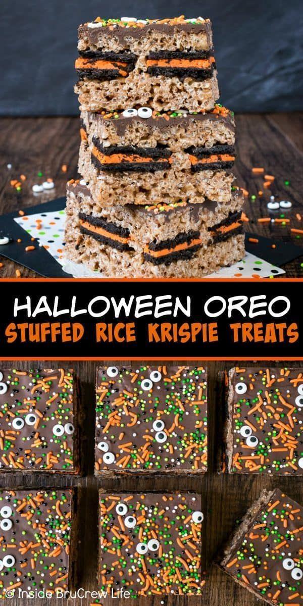 Halloween Oreo Stuffed Rice Krispie Treats – chocolate, sprinkles, and Oreo cook…