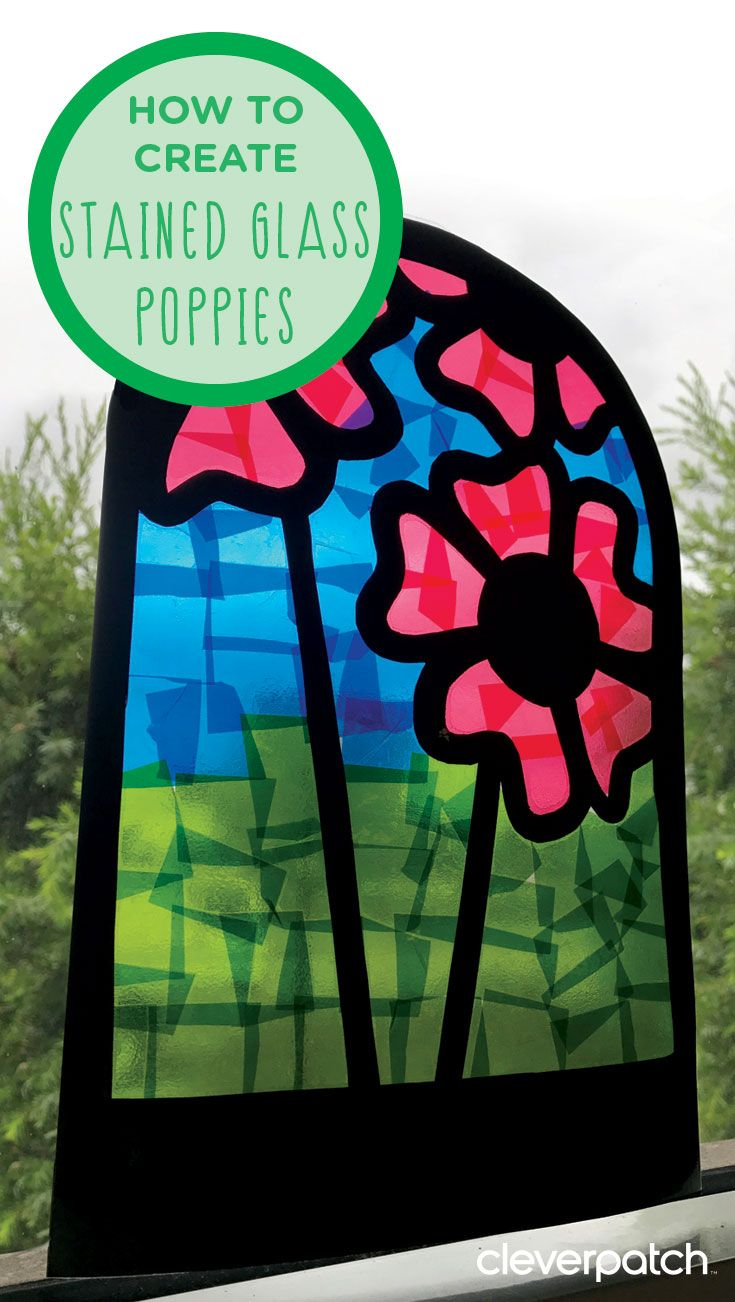 Stained Glass Poppies #remembrancedaycraftsforkids