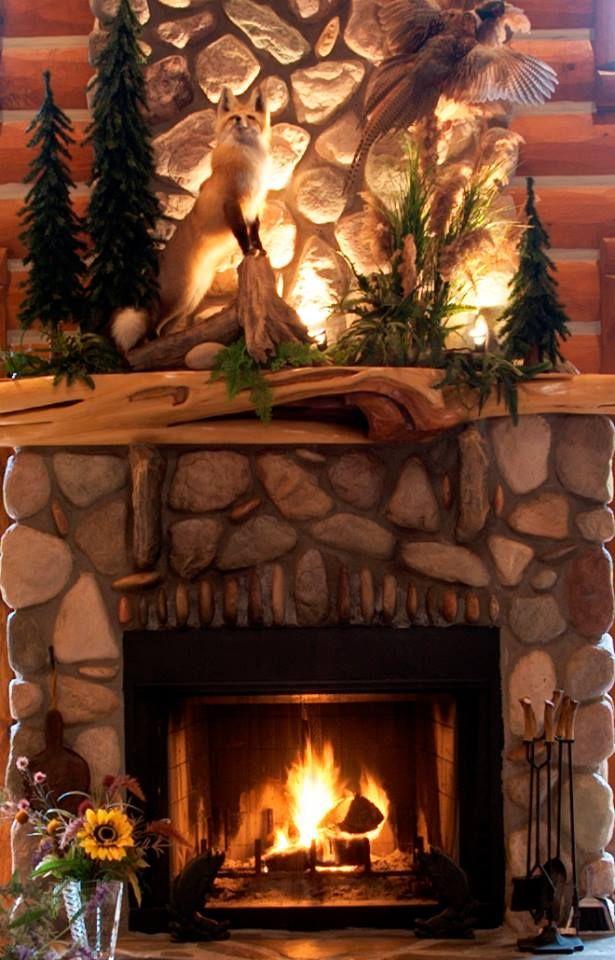 Log Mantel And Half Log Siding Rustic Fireplace Mantle Rustic Fireplace Decor Home Fireplace