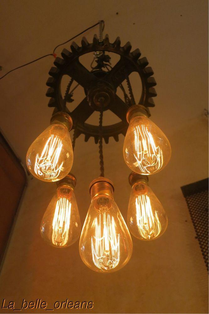 VINTAGE INDUSTRIAL CUSTOM PENDANT GEAR LIGHT FIXTURE. l@@k!! | Collectibles & VINTAGE INDUSTRIAL CUSTOM PENDANT GEAR LIGHT FIXTURE. l@@k | Vintage ...
