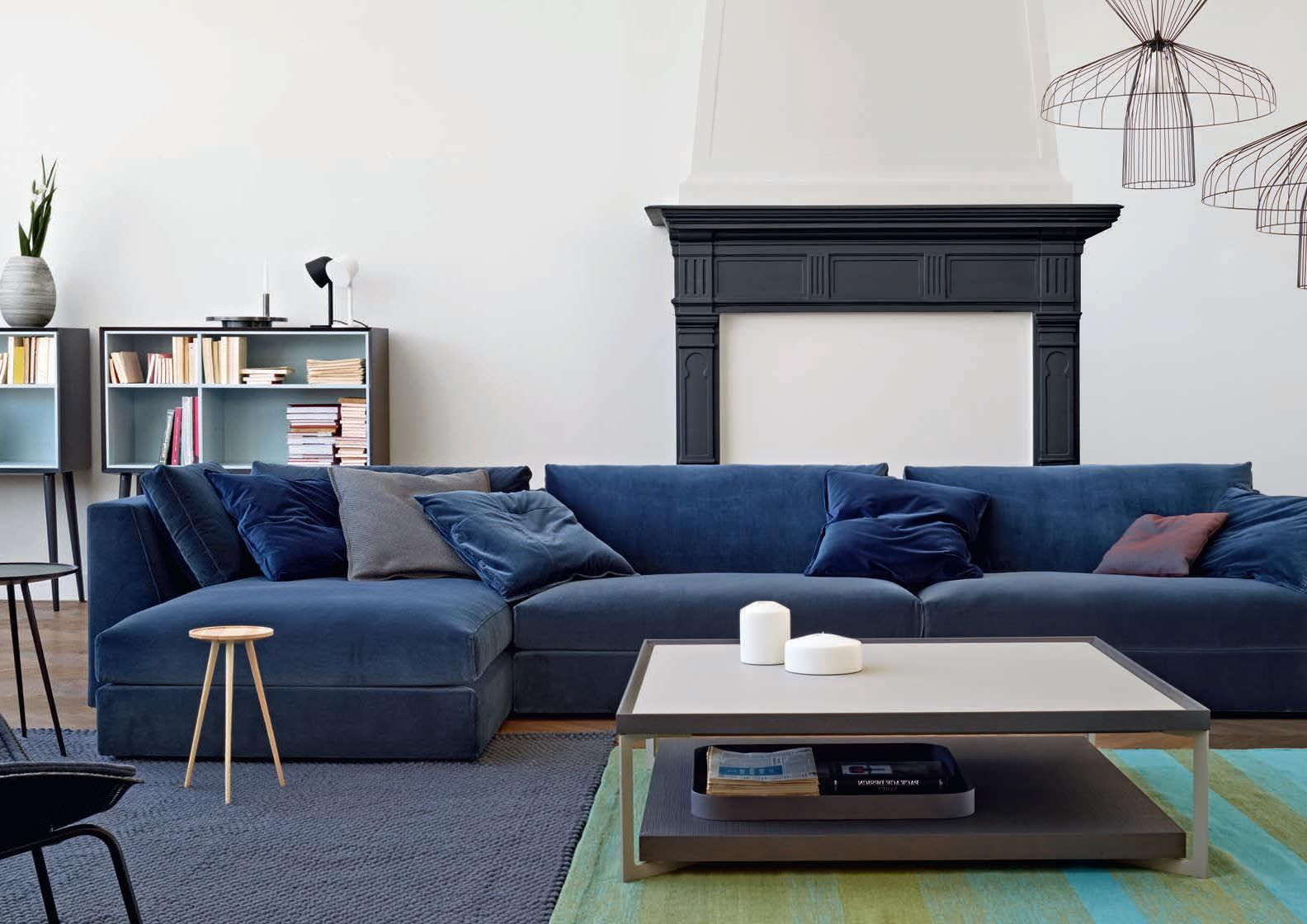 Living Room With Navy Blue Velvet Modern Sectional Restoration Hardware Inspired More Colors Available Couch Upholstery Furniture Sofa Upholstery