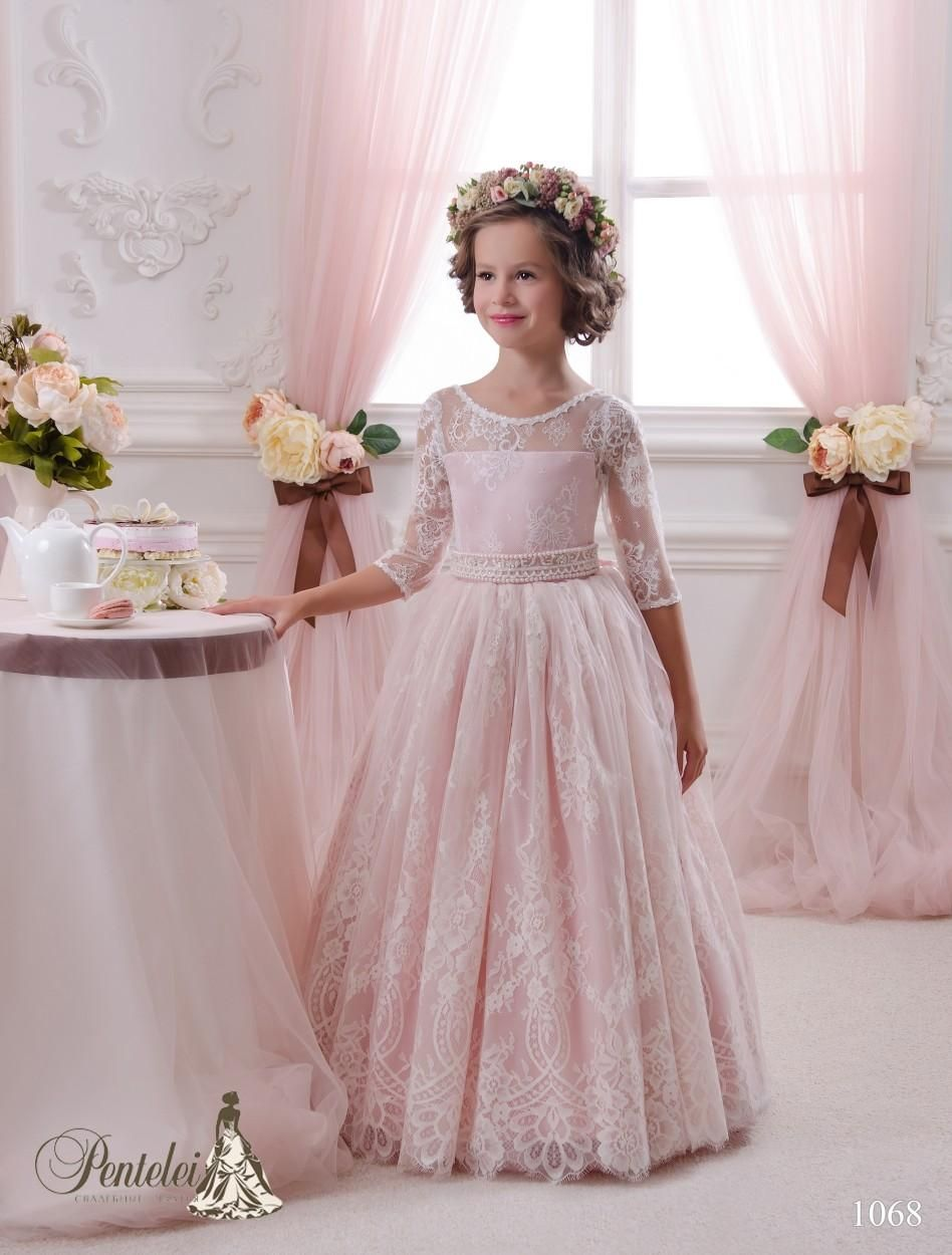 905aa9410e 2016 Blush Little Bride Dresses With 3/4 Long Sleeves And Beaded ...