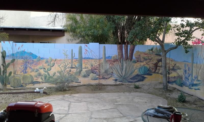 Desert landscape mural on backyard cinder block wall for Desert wall mural