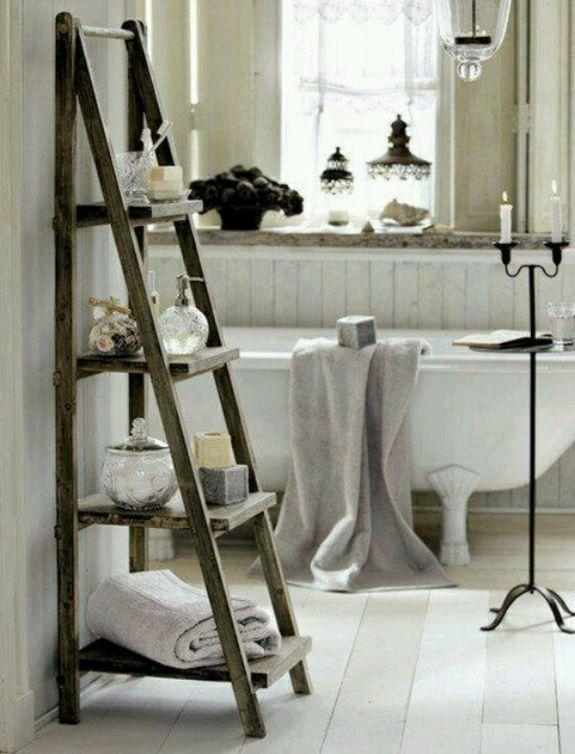 Handtuchleiter Holz   35 Reizende Badezimmer Im Landhausstil Mehr