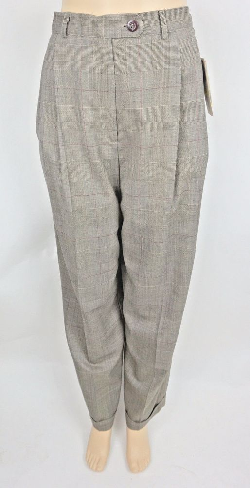 Austin Reed Women S Wool Pants Size 8 Lined Trousers Plaid Cuff Hem Biscuit Austinreed Dresspants Dressoffice Womens Wool Pants Pants Pants For Women