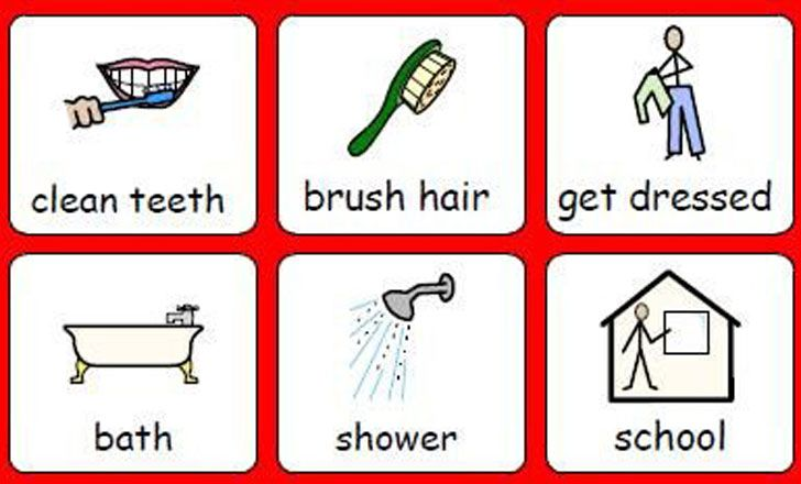 six simple illustrations of daily activities with a oneword descriptor underneath | Work