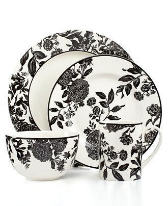 Martha Stewart Collection Orleans Black 4-Piece Place Setting ...