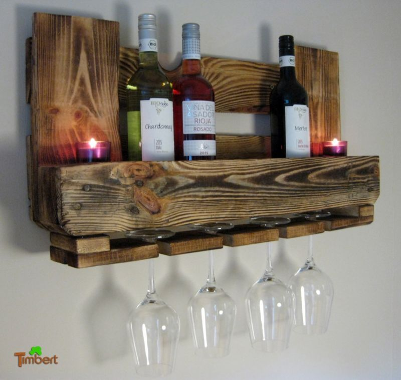 Botellero para vino euro palets muebles estante de pared for Estantes para vinos