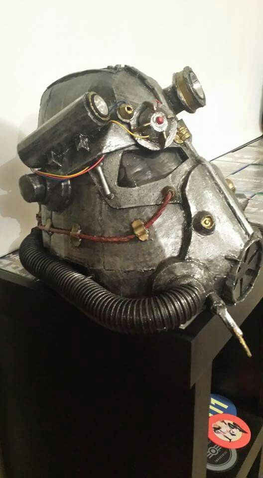 Fallout 3 power armor helmet, made out of cardboard, old flashlights