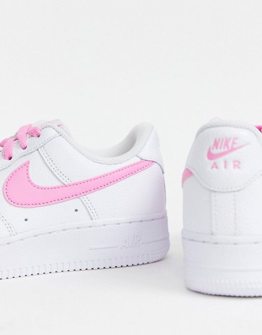 Nike White And Pink Air Force 1 Trainers Asos Nike Air Shoes White Nikes Pink Nike Shoes