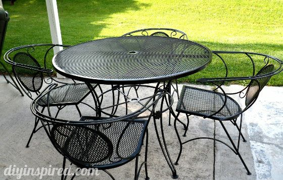 Patio Table and Chair Update   House Ideas   Pinterest   Metal patio     Repainting metal patio furniture via blog  1 use wire brush sandpaper to  get off loose paint rust  2 wash wipe down and dry  3 prime  4 paint with  spray
