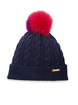 e866fbb56 Burberry Cable-Knit Wool, Cashmere & Fox Fur Beanie | 2016 | Cable ...