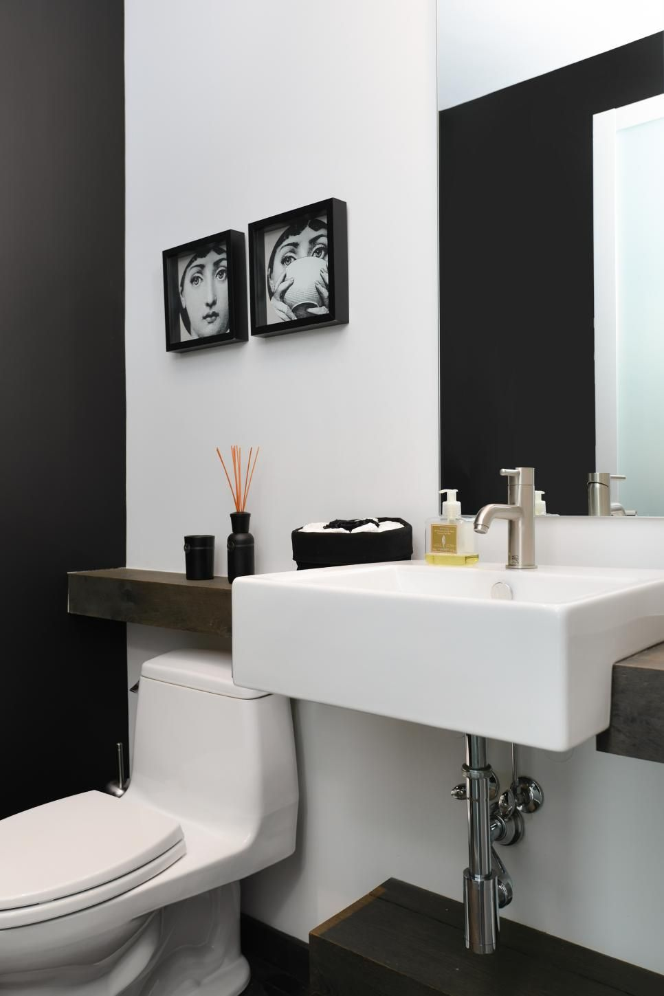 Contemporary Powder Room With Black Accent Wall Black Accent Walls Trendy Bathroom Tiles Black Bathroom