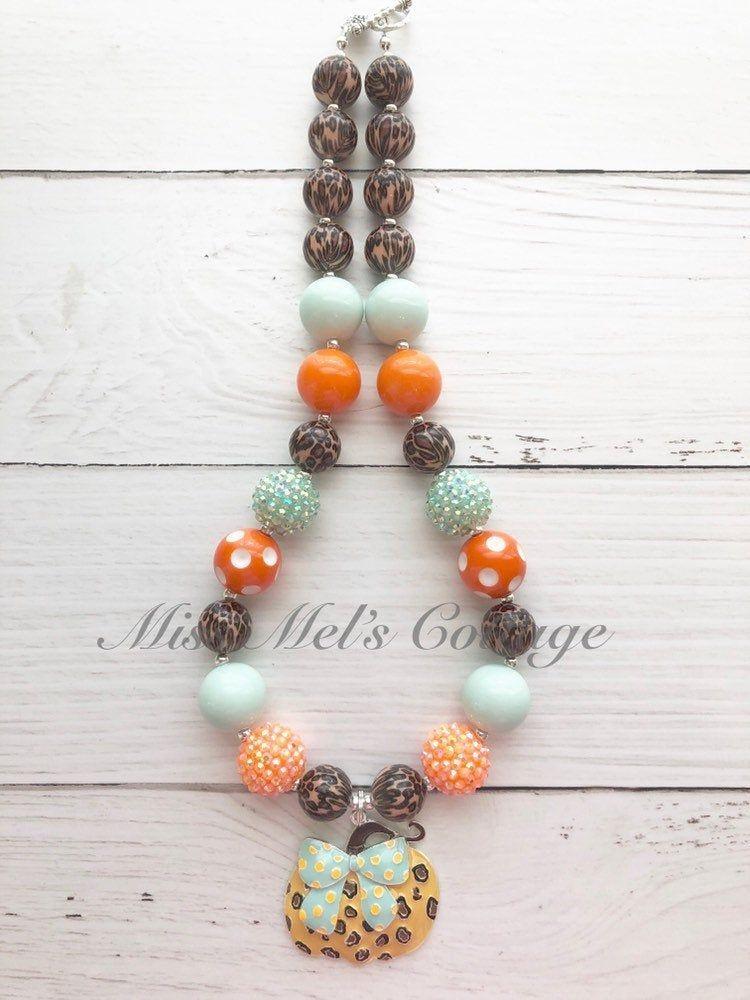Girl's Pumpkin Halloween Chunky Bubblegum Necklace Jewelry Beads Toddler Baby