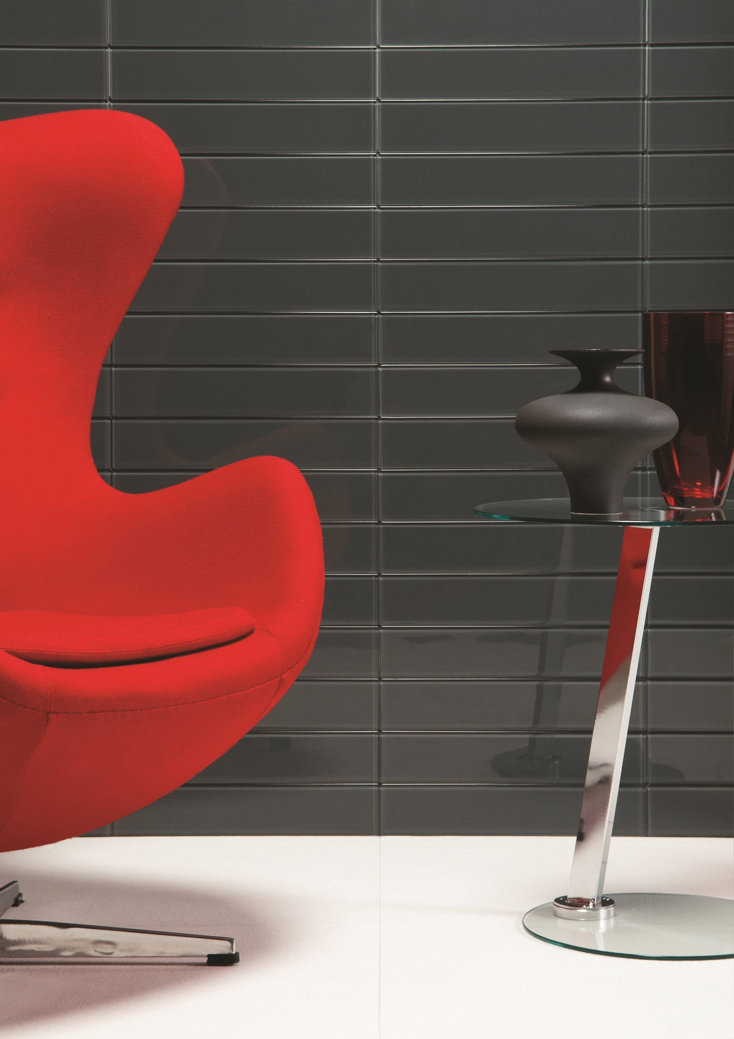 Understated And Sophisticated Clear Glass Tiles Look Great Against Bright  Red   Avon From The Glassworks