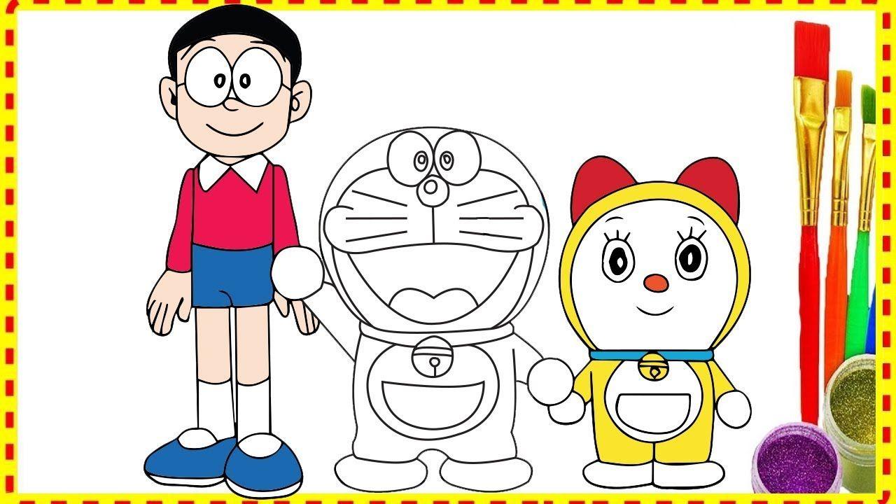 draw doraemon nobita and dorami family in doremon movie coloring