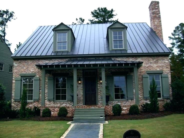 Dark Grey House Google Search Metal Roof Houses Brick House Colors Farmhouse Style Exterior