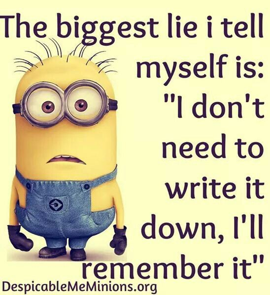 Starting To Write Everything Down If I Don T Forget Before I Go To Write It Down Minions Funny Funny Minion Quotes Minion Jokes