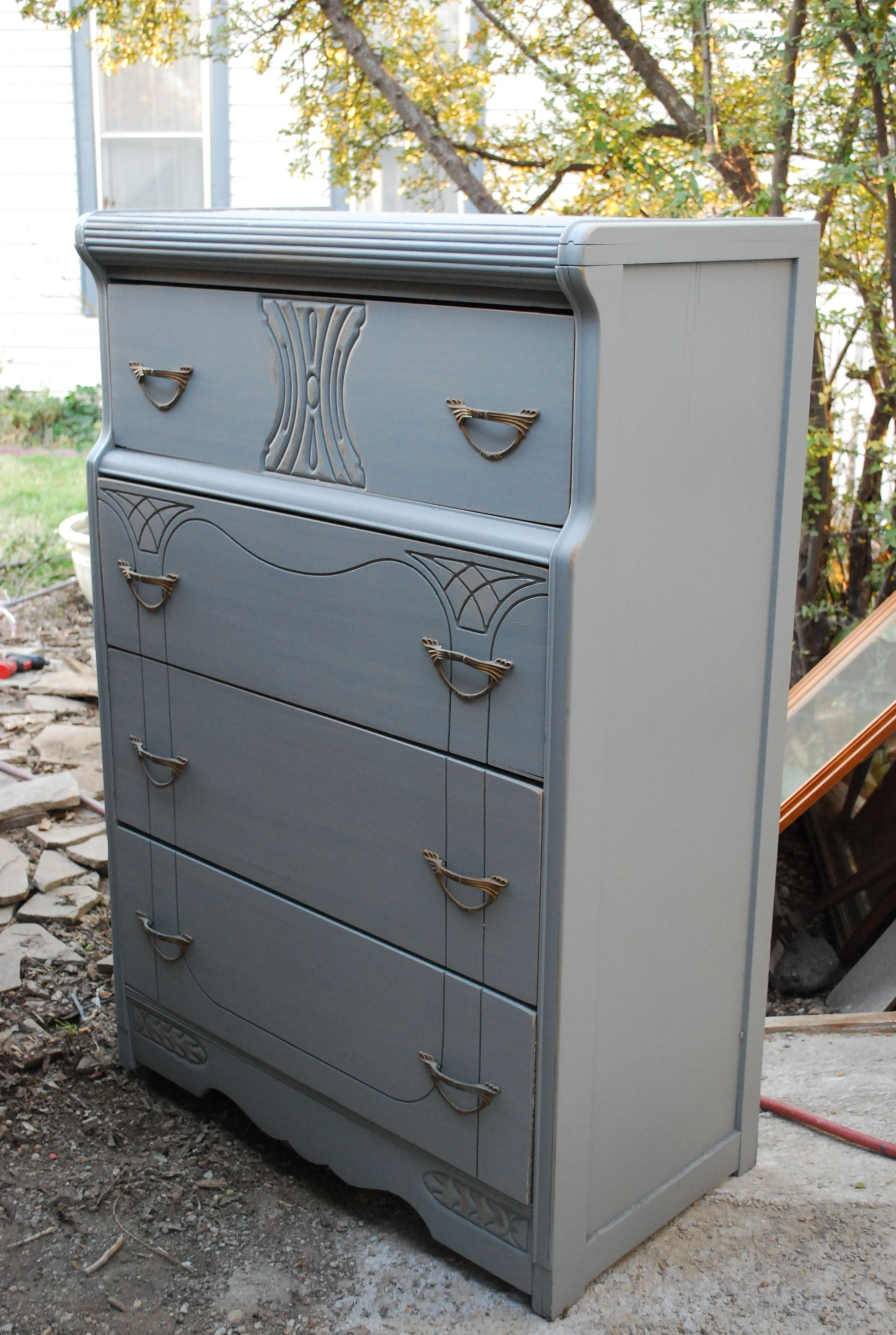 Art Deco dresser c.1940 refinished with a flat gray paint. Picked ...