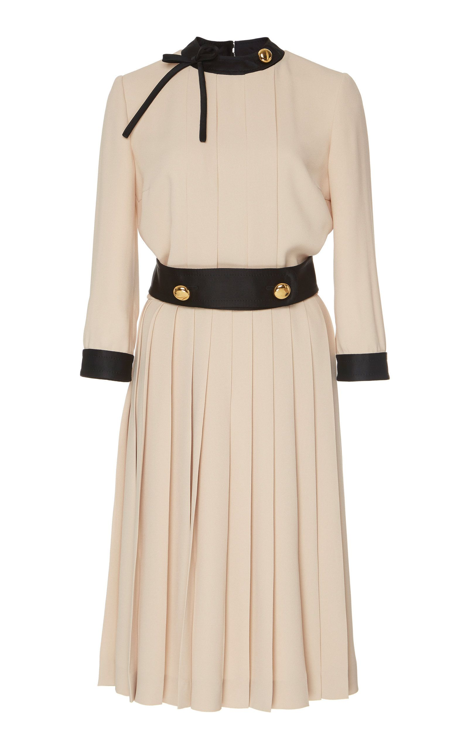 Button-Detailed Pleated Crepe Midi Dress by PRADA Now Available on Moda  Operandi d61729153aa5