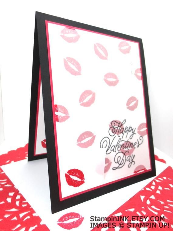 valentine kiss card handmade stampin up kiss card fun