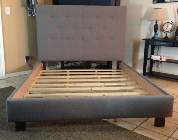 Queen headboard and bed frame Gray Linen upholstered   espaldar d ...