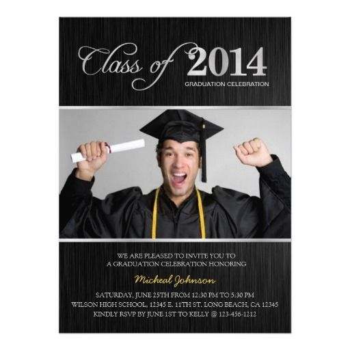 Elegant Black Silver Class of 2014 Graduation Invitation We