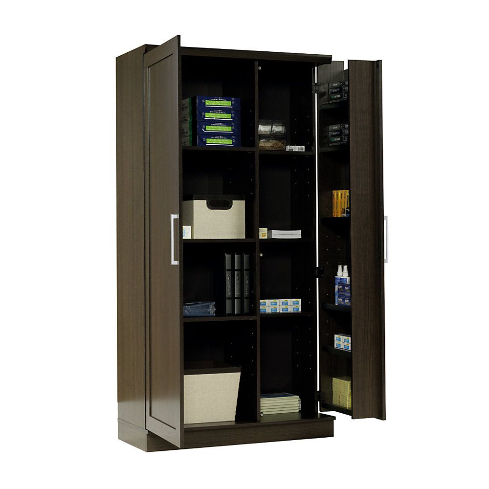Realspace Storage Cabinet 12 Shelves 71 16 H X 35 38 W X 17 D Dakota Oak By Office Depot Office Storage Cabinets Large Storage Cabinets Deep Storage Cabinet