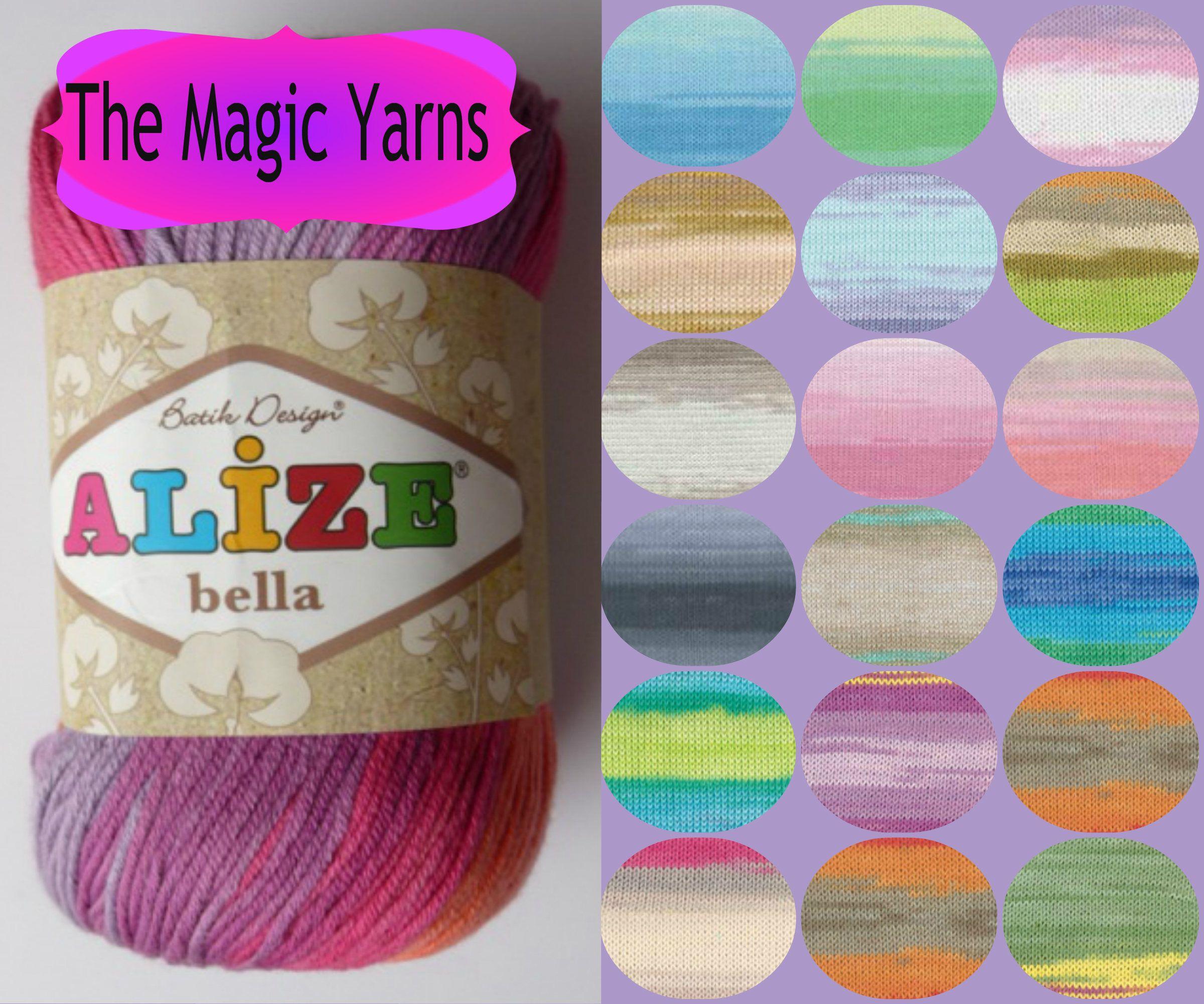 Natural Cotton Yarn,ALIZE BELLA BATIK 100% Pure Cotton