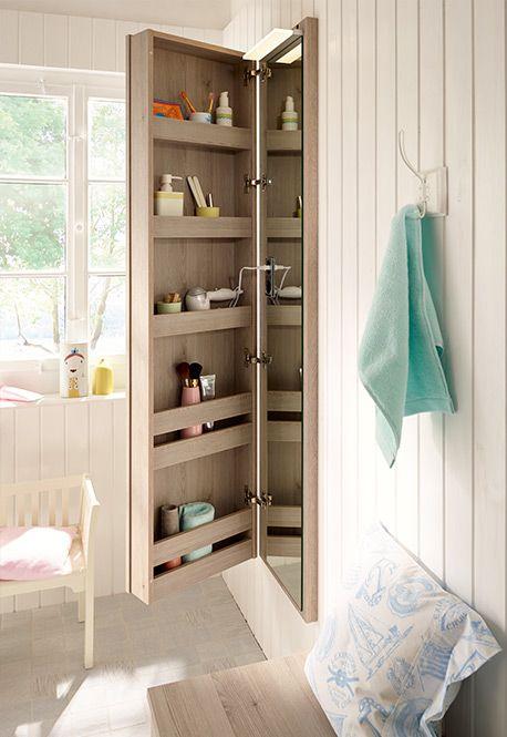 Narrow Bathroom Cupboard Bel With Integrated Mirror By Burgbad