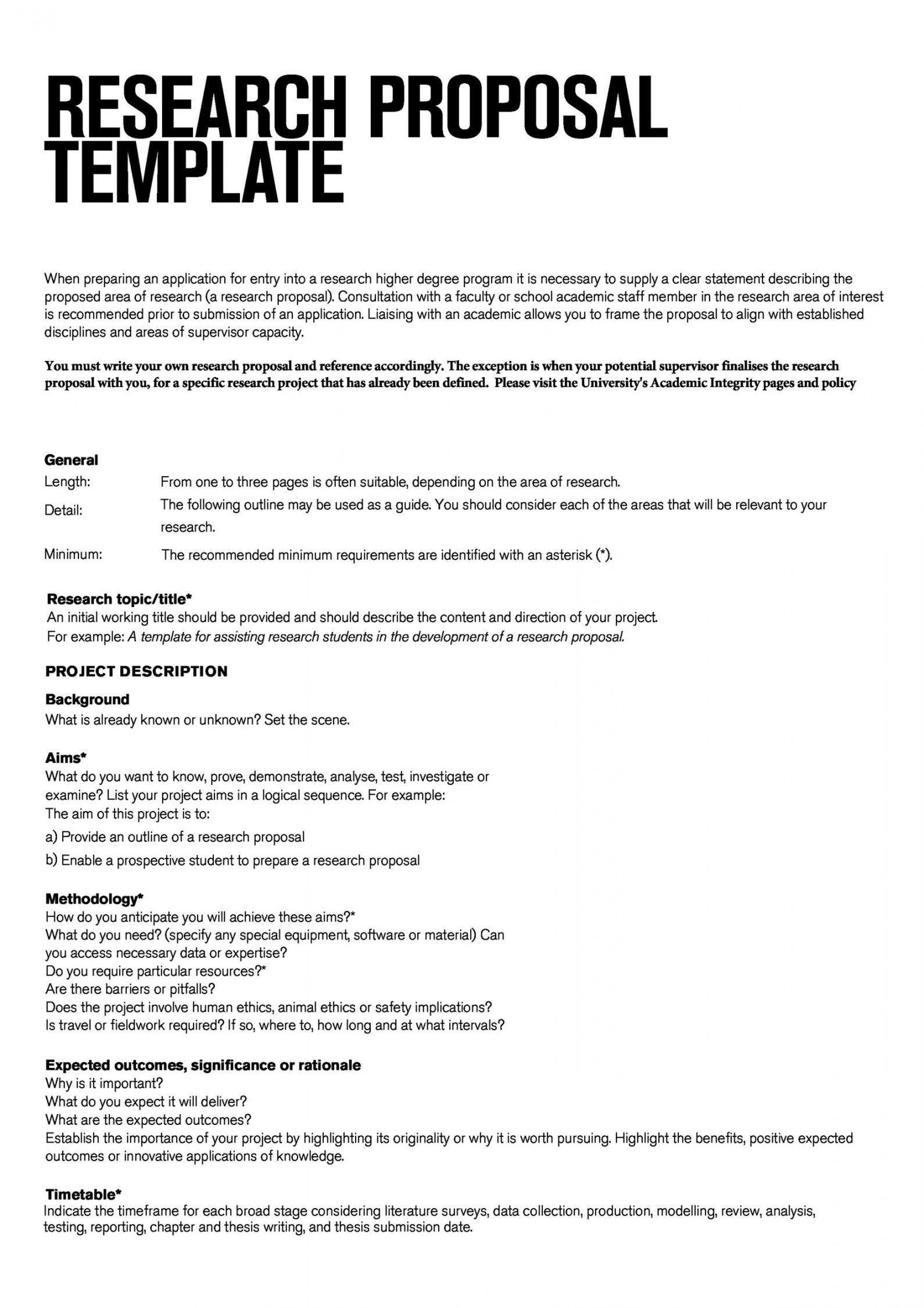 Scientific Project Proposal Template In