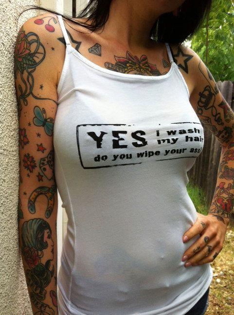 Yes I wash my hair do you wipe your ass Tank Shirt Dreadlocks Braids and Hawks SMALL/ MEDIUM. $14.00, via Etsy.
