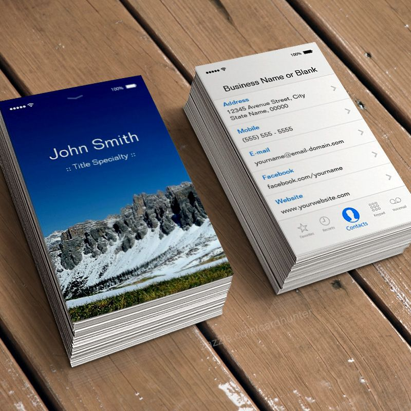 iPhone iOS 7 Flat UI Style Business Card Template - Fully ...